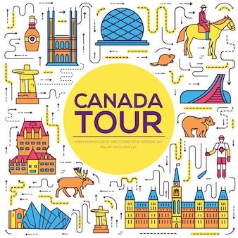 Infografía de vacaciones de viaje de país canadá