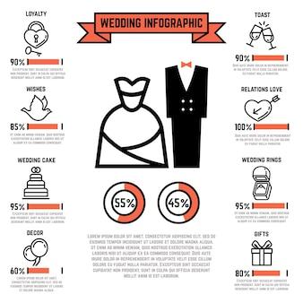 Infografía de vector de boda con matrimonio y los iconos planos nupciales. ceremonia del evento, amor de corazón y cele.