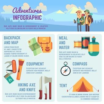 Infografía de vectores de aventuras al aire libre con iconos de equipos de senderismo y escalada, personas que viajan y gráficos.