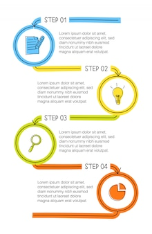 Infografía vertical dibujada a mano con 4 opciones coloridas