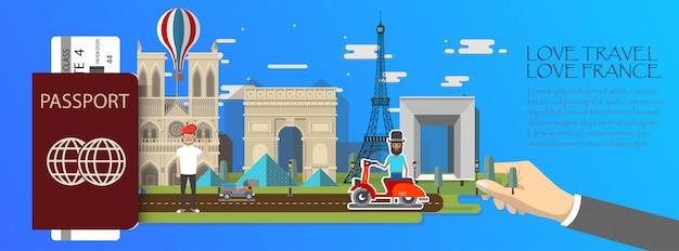 Infografía de viaje infografía de parís, pasaporte con puntos de referencia de francia