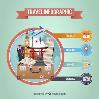 Infografía de viaje con monumentos alrededor del mundo