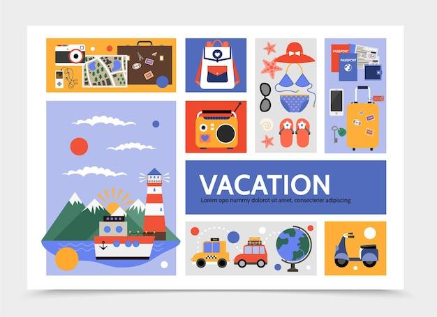 Infografía de viaje plano con crucero, taxi, automóvil, scooter, bolsa, mapa, cámara, radio, traje de baño, gafas de sol