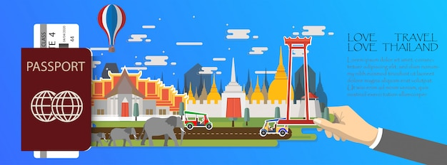 Infografía de viaje tailandia infografía, pasaporte con los monumentos de bangkok