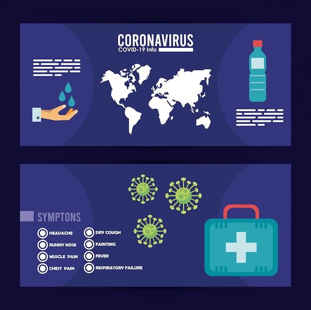 Infografía de virus corona con métodos de prevención, diseño de ilustraciones vectoriales