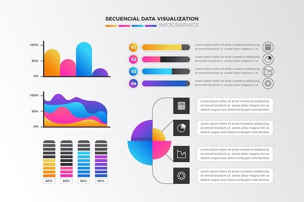 Infografía de visualización de datos de secuencia de gradiente