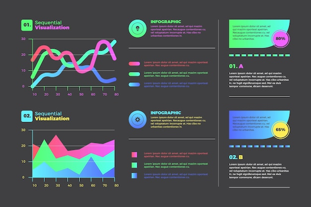 Infografía de visualización de datos secuencial gradiente