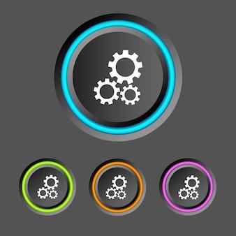 Infografía web abstracta con botones redondos coloridos anillos y engranajes iconos