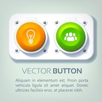 Infografía web abstracta con botones redondos coloridos de panel metálico e iconos de negocios aislados