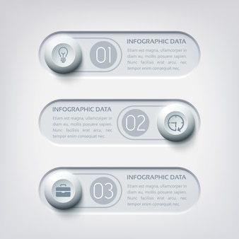 Infografía web empresarial con tres banners horizontales, botones redondos e iconos en colores grises