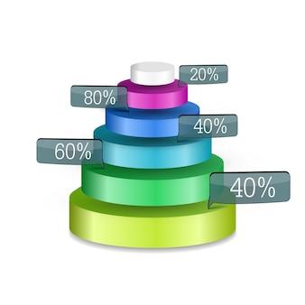 Infografía web de negocios abstracto con colorida pirámide 3d de seis anillos redondos y etiquetas de porcentaje aisladas