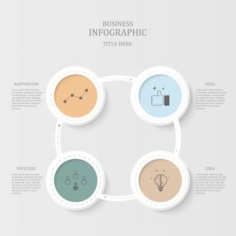 Infografías círculos de colores para el concepto de negocio.