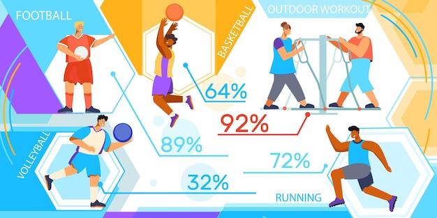 Infografías deportivas con personajes trabajando.