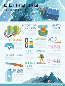 Infografías con estilo sobre el tema del montañismo.