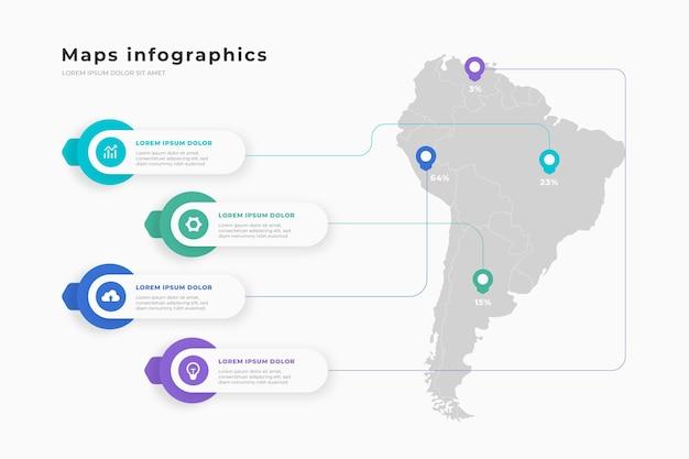Infografías de mapas en diseño plano.