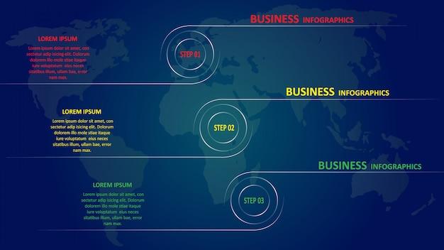 Infografías negocios en forma de flechas de colores con texto e iconos.