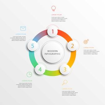 Infografías negocios modernos con elementos redondos 3d realistas.