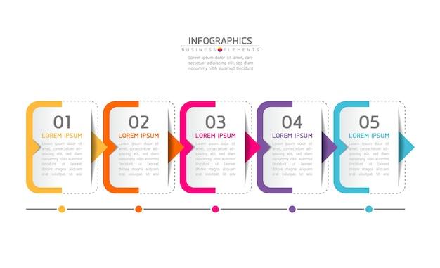 Infografías. pasos o procesos. 5 pasos.