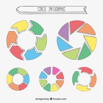 Infografías redondas dibujadas a mano
