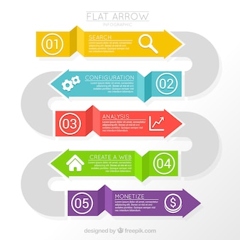 Infográficas flechas planas en colores