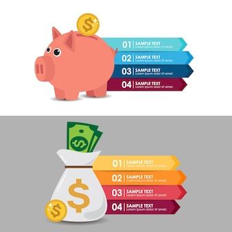 Infográfico con una alcancía y dólar. ilustración del vector
