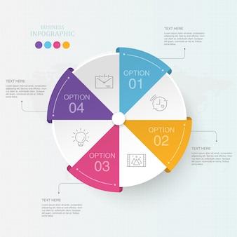 Infographics colorido del proceso del círculo 4 para el concepto del negocio.