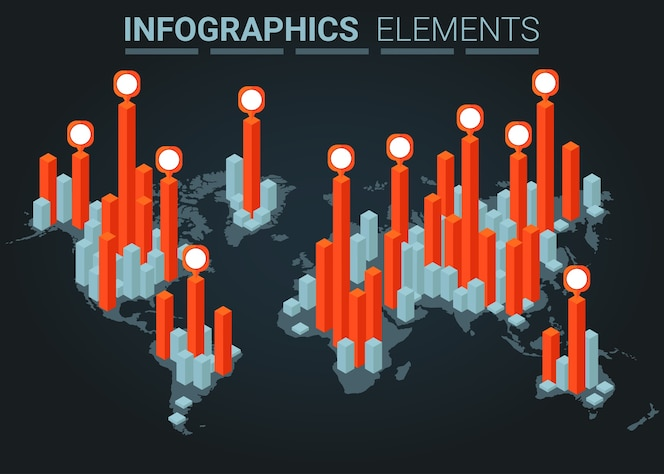 Infographics elemento isometric graph and chart world map