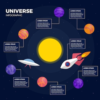 Infopgraphic del universo con nave espacial terrestre y nave alienígena