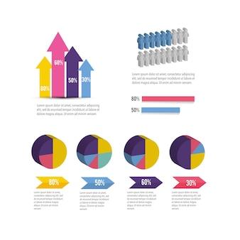 Información de diagrama de negocios infografía isométrica