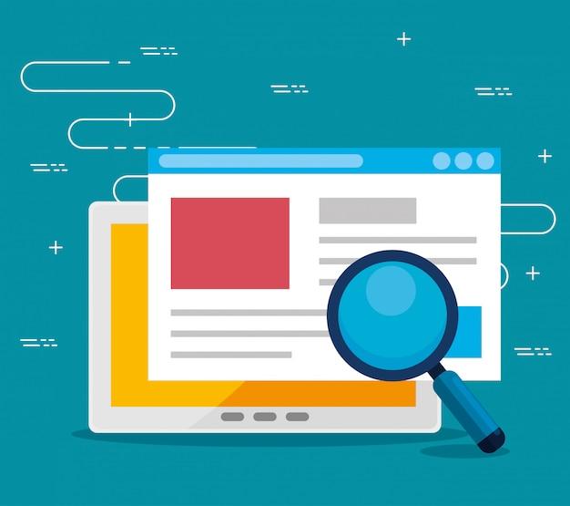 Información de estrategia de oficina del sitio web y lupa