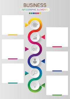 Información gráfica o infografía arco iris seis elemento círculo