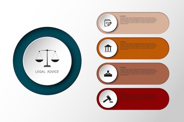 Información de la ley para el caso de veredicto de la ley de justicia martillo legal martillo de madera símbolo de la subasta de la corte del crimen. infografia