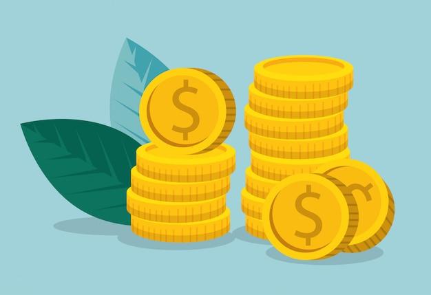 Información de marketing empresarial con monedas y hojas