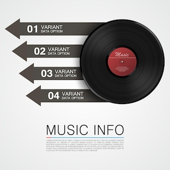 Información de música abstracta. disco de vinilo. ilustración vectorial