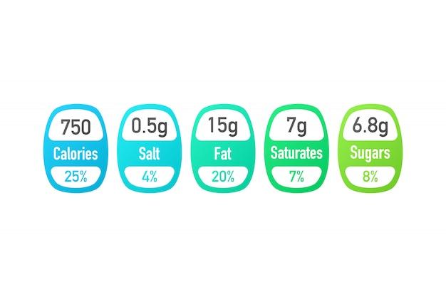 Información nutricional vector etiquetas de paquete con calorías e información de ingredientes. ilustración del ingrediente nutricional diario y calorías.