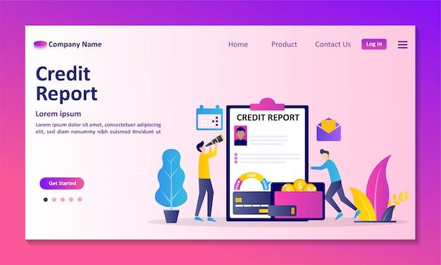 Información de puntaje de crédito personal y calificación financiera página de destino