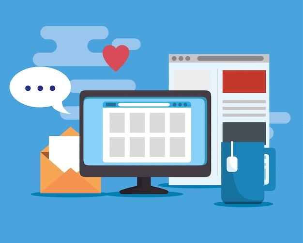 Información del sitio web de la computadora y conexión digital