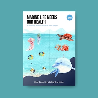Información sobre el concepto del día mundial de los océanos con animales marinos y el vector de acuarela de delfines