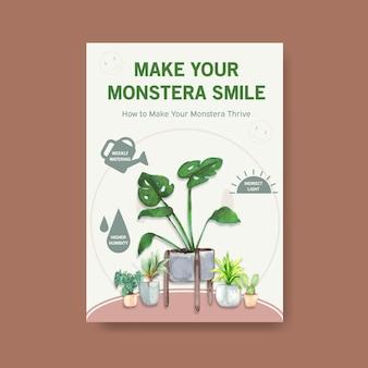 Información sobre el diseño de plantillas de plantas de verano y plantas de interior para publicidad, folleto, folleto, ilustración acuarela