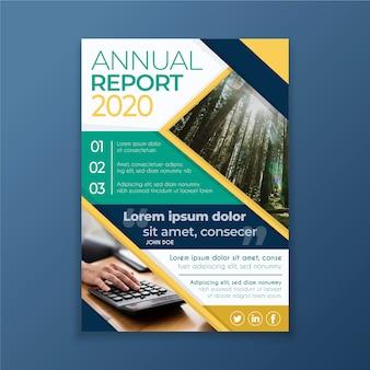 Informe anual abstracto con plantilla de imagen vector gratuito