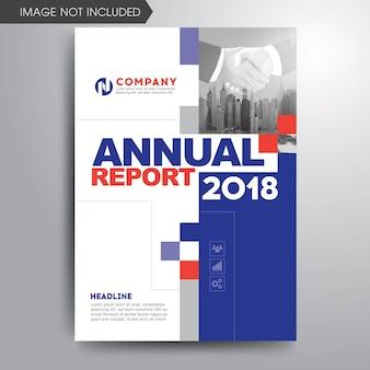 Informe anual cubierta plantilla rojo azul gris formas geométricas