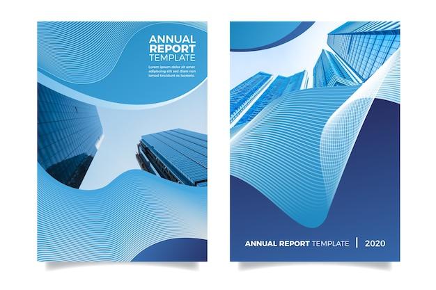 Informe anual con edificios y efecto líquido.