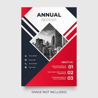 Informe anual moderno con formas rojas