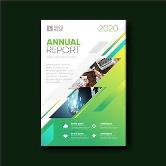 Informe anual de plantilla abstracta con foto
