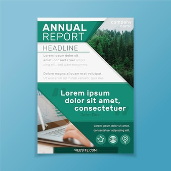 Informe anual de plantilla abstracta con imagen