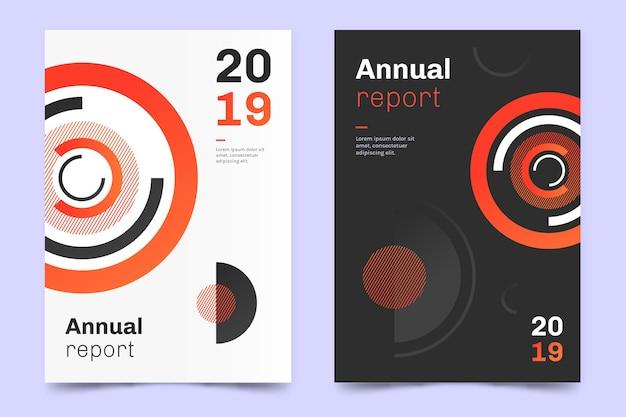 Informe anual con plantilla de diseño circular
