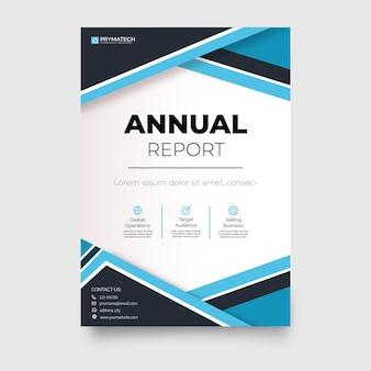 Informe anual de plantilla de folleto comercial moderno con formas abstractas azules