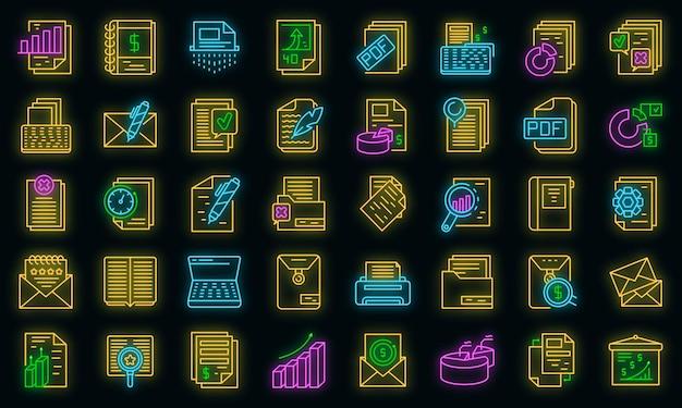 Informe conjunto de iconos de neón vectorial