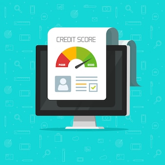 Informe de crédito en línea documento de informe en la pantalla del ordenador
