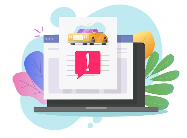 Informe de descripción en línea del historial de riesgos falsos del automóvil con advertencia de acceso al vehículo en la computadora portátil